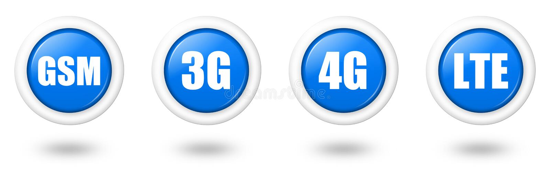 Expert en logiciel de graphisme LTE, 4G, 3G et de télécommunication bleus de GM/M illustration libre de droits