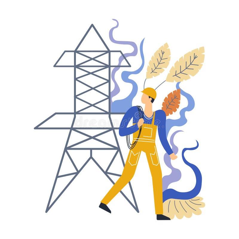 Expert en matière masculin professionnel d'électricien en matière de centrale de l'électricité illustration de vecteur