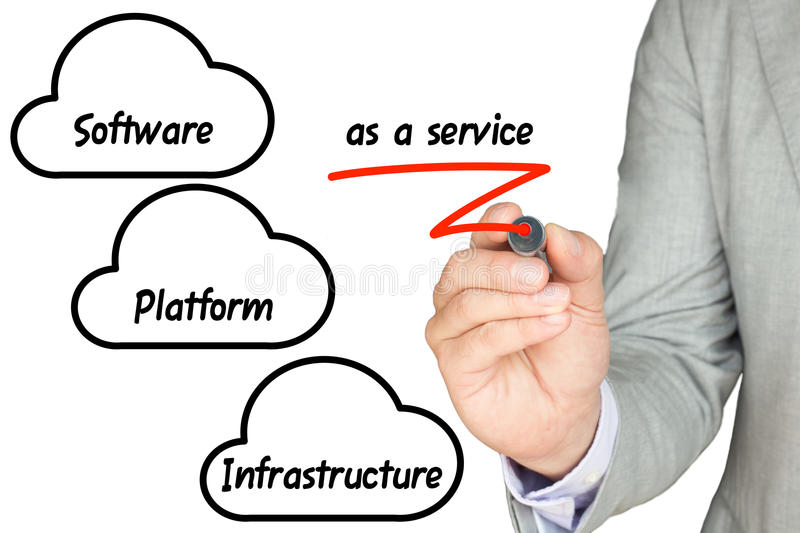 IT expert explains cloud services. IT expert with grey suit underlines as a service in red cloud computing concept royalty free stock photography