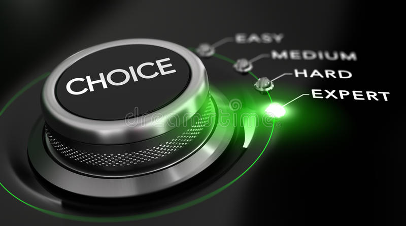 Expert Mode. Switch button positioned on the word expert, black background and green light. Conceptual image for illustration of difficulty level vector illustration