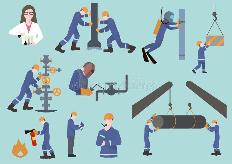 Expert pétrolier, employé du gaz ou huile et travailleur d'industrie du gaz sur la production images stock