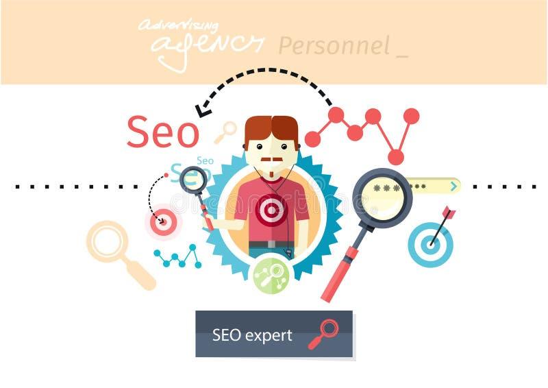 Expert of search engine optimization stock illustration