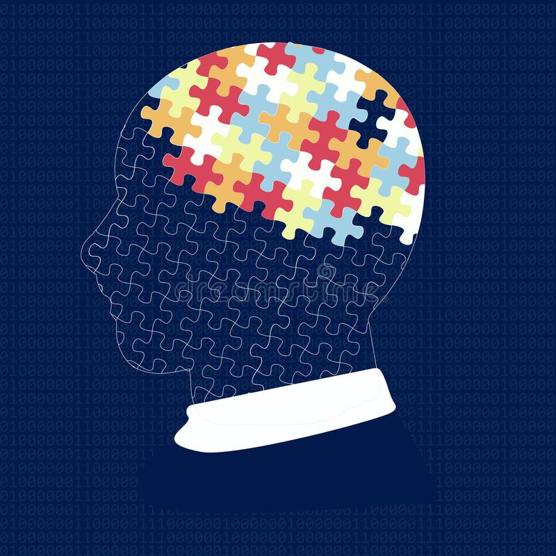 Man head with puzzle. Idea, concept, notion, thought, message, insight. Man head with puzzle. Concept. Dark background royalty free illustration