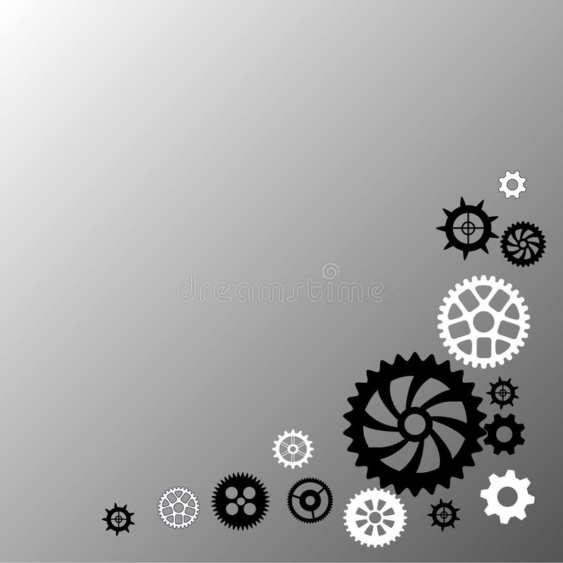 Different gears black and white. Expert systems. Idea, concept, notion, thought, message, insight. Different gears black and white. Expert system lettering web vector illustration
