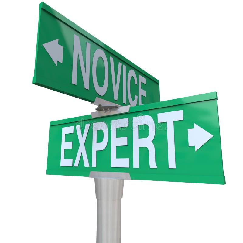 Expert Vs sakkunskap för erfarenhet för novistvåvägsvägmärkeexpertis royaltyfri illustrationer