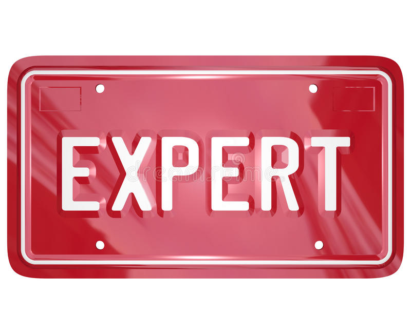 Expert Word License Plate Car Mechanic Engineer Technician Repair. Expert word on red car license plate to illustrate the skills and expertise of an automotive stock illustration