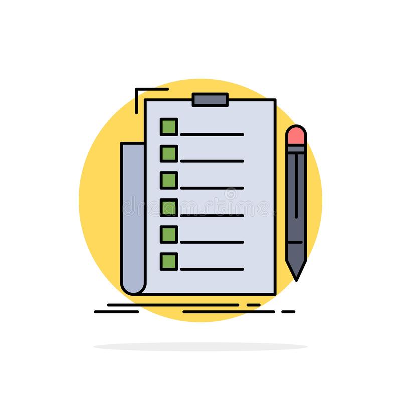 expertise, checklist, check, list, document Flat Color Icon Vector vector illustration