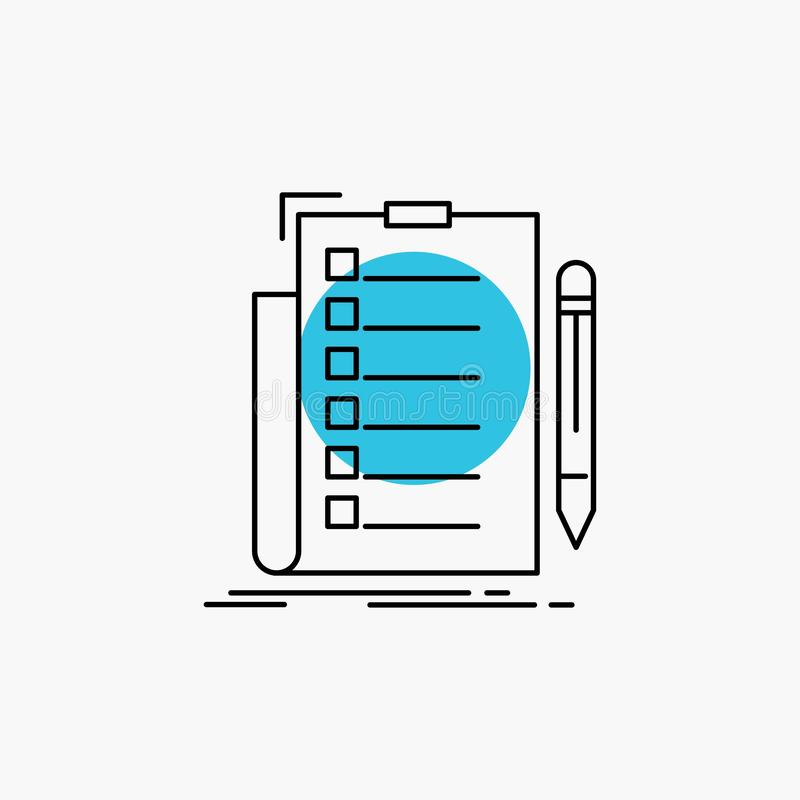 expertise, checklist, check, list, document Line Icon royalty free illustration