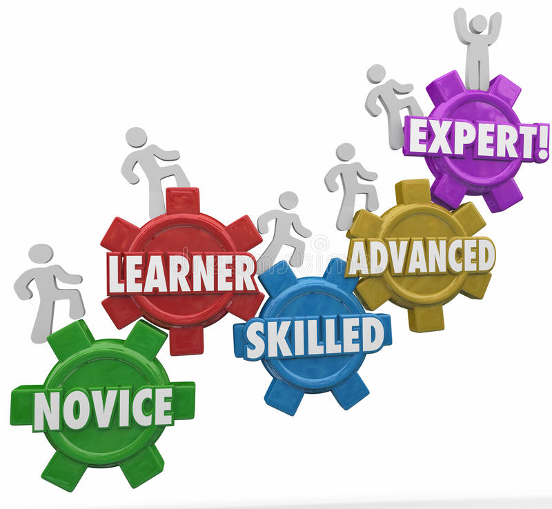 Expertise Levels Novice Learning Skilled Advanced People Climbing Gears stock illustration