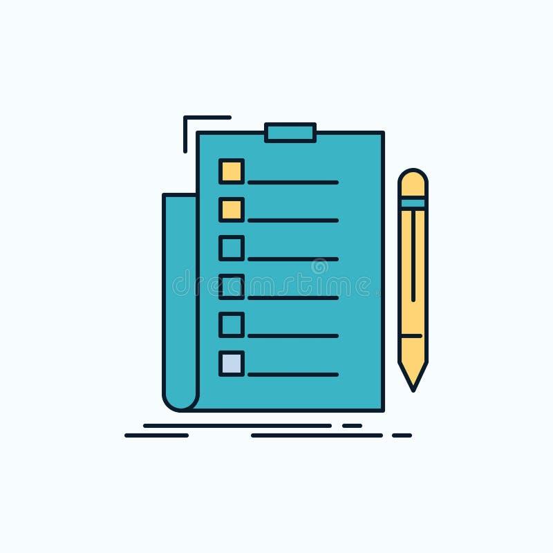 expertise, liste de contrôle, contrôle, liste, icône plate de document signe et symboles verts et jaunes pour le site Web et l'ap illustration libre de droits