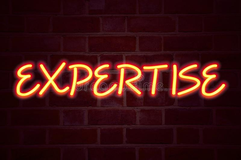 Expertise neon sign on brick wall background. Fluorescent Neon tube Sign on brickwork Business concept for Expert Evaluation Opini. On 3D rendered Front View stock image