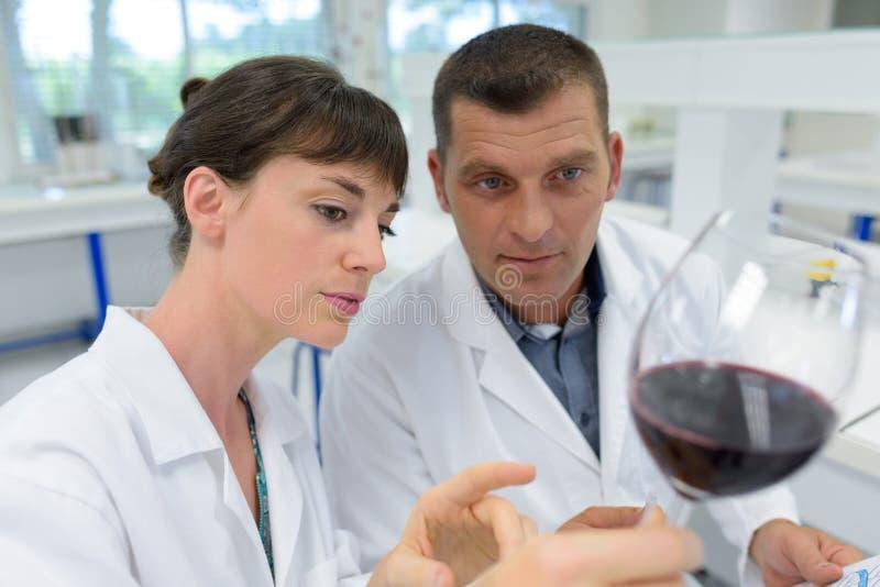 Expertos del hombre y de la mujer en las capas blancas que comprueban calidad de vino imagen de archivo