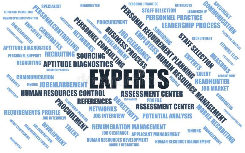Experts - nuage/wordcloud de mot avec des termes au sujet du recrutement illustration libre de droits