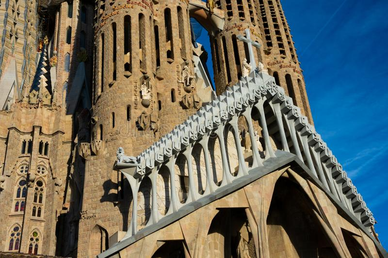 Expiatory Church of the Holy Family Templo Expiatorio de la Sagrada Familia. Barcelona, Spain. February 10, 2019. Expiatory Church of the Holy Family Templo royalty free stock photo