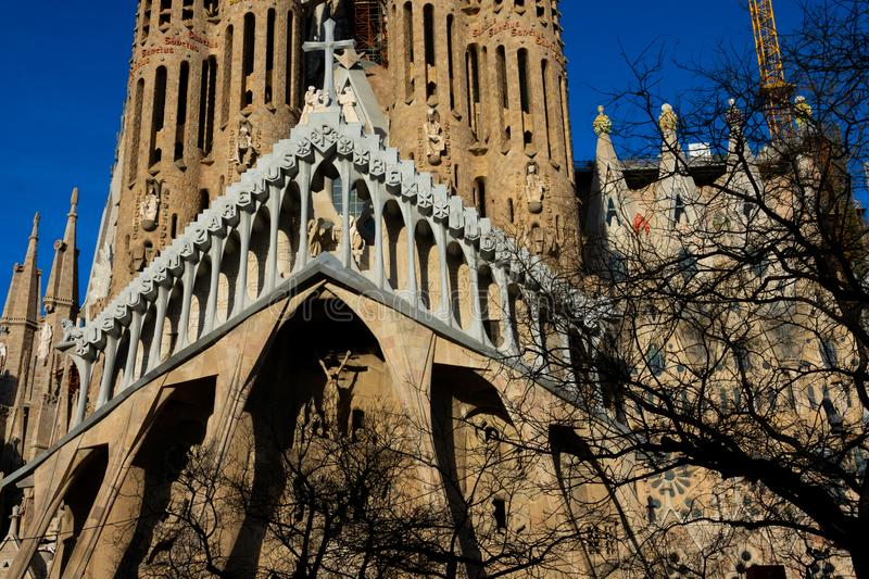 Expiatory Church of the Holy Family Templo Expiatorio de la Sagrada Familia. Barcelona, Spain. February 10, 2019. Expiatory Church of the Holy Family Templo stock images