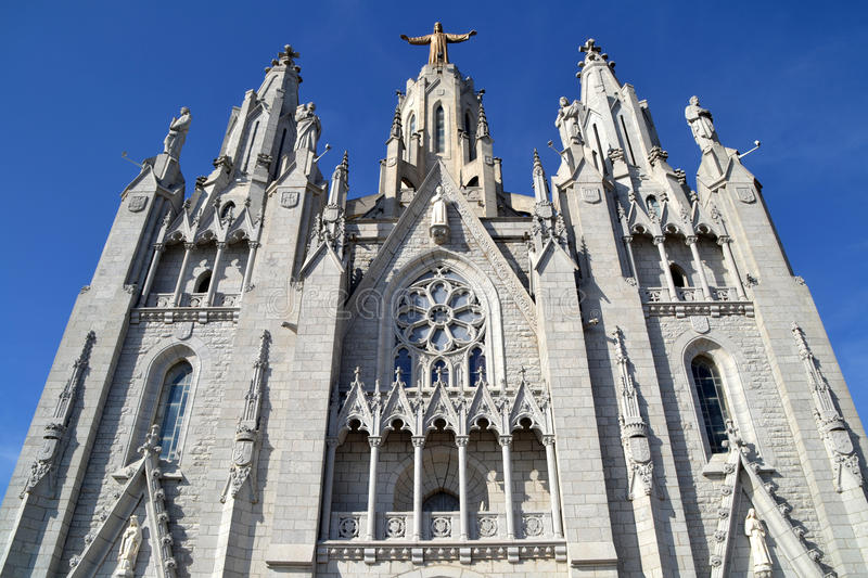 Expiatory Church of the Sacred Heart of Jesus in Barcelona. View of Expiatory Church of the Sacred Heart of Jesus in Tibidabo, Barcelona, Spain stock photos
