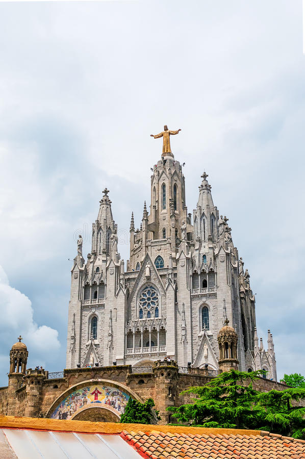 Expiatory Church of the Sacred Heart of Jesus on summit of Moun royalty free stock photography
