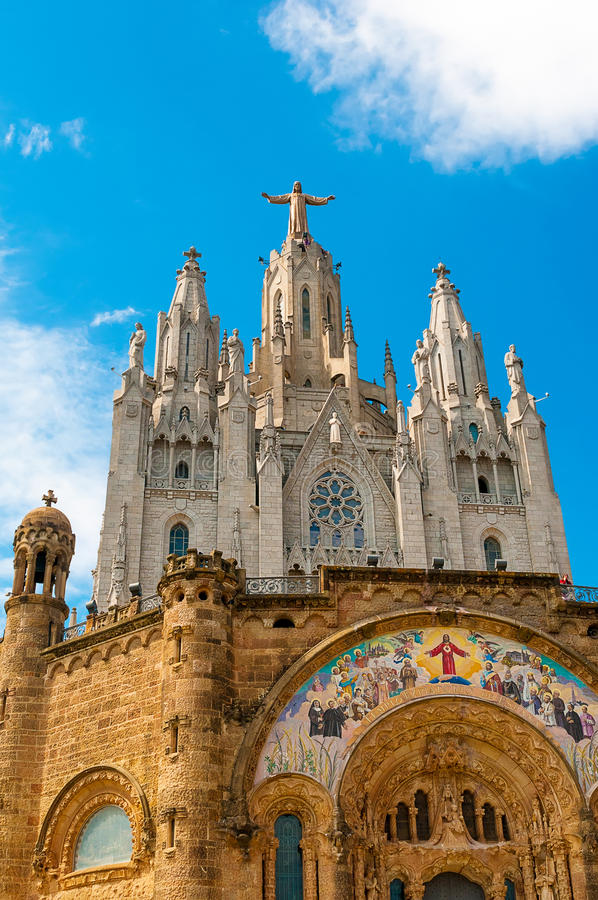 Expiatory Church of the Sacred Heart of Jesus on summit of Moun stock photography