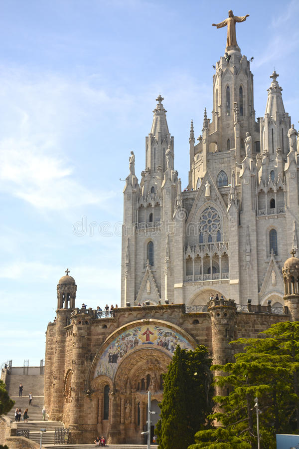 Expiatory Church of the Sacred Heart on the Tibidabo, Barcelona. Catalonia, Spain royalty free stock photo