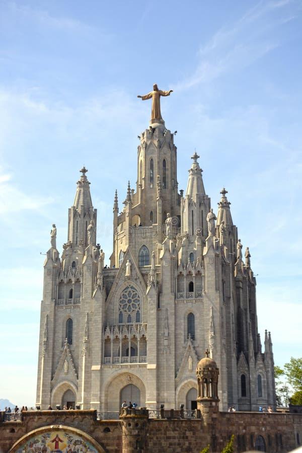 Expiatory Kerk van het Heilige Hart op Tibidabo, Barcelona stock foto