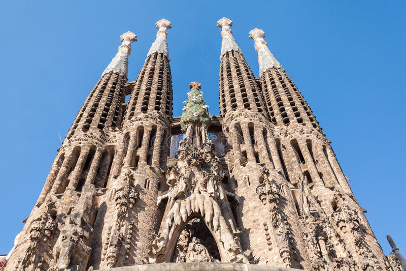 Expiatory Temple of the Holy Family, Sagrada Familia, Barcelona, Spain. BARCELONA, SPAIN - JUNE 7, 2015: Expiatory Temple of the Holy Family. View of the Sagrada stock images
