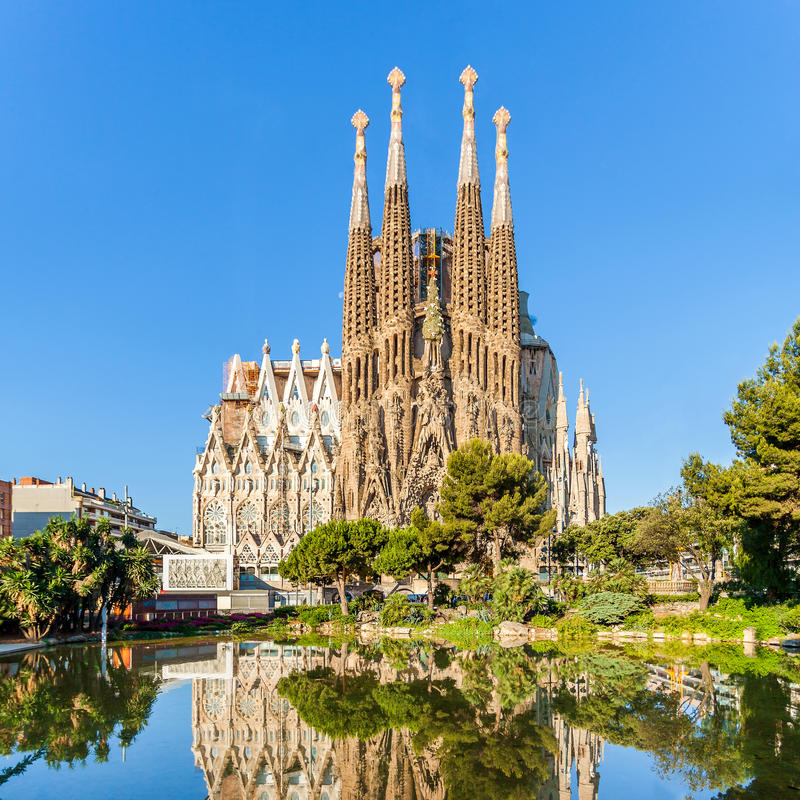 Expiatory Temple of the Holy Family, Sagrada Familia, Barcelona, Spain. BARCELONA, SPAIN - JUNE 7, 2015: Expiatory Temple of the Holy Family. View of the Sagrada royalty free stock images