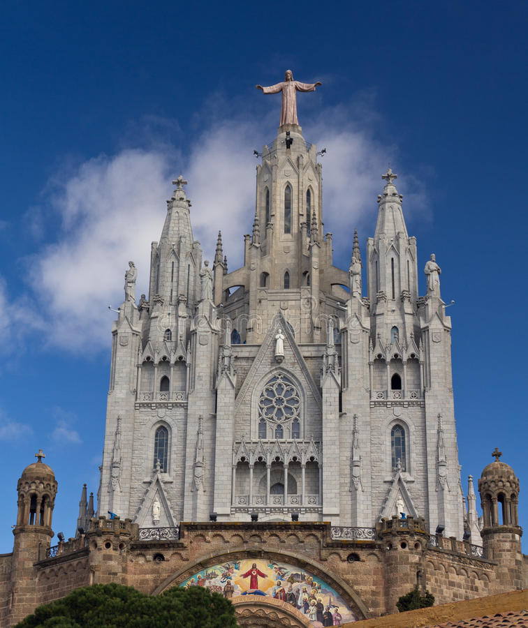 Expiatory temple Sacred Heart of Tibidabo, Barcelona. Spain. In the mountain and seen from the city stock photos