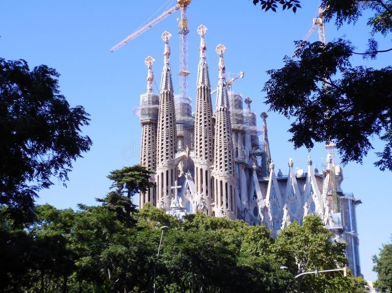 The Expiatory Temple of the Sagrada Familia, basilica in Barcelona,. Catalonia. Spain. Europe. The Expiatory Temple of the Sagrada Familia, known as the Sagrada royalty free stock images