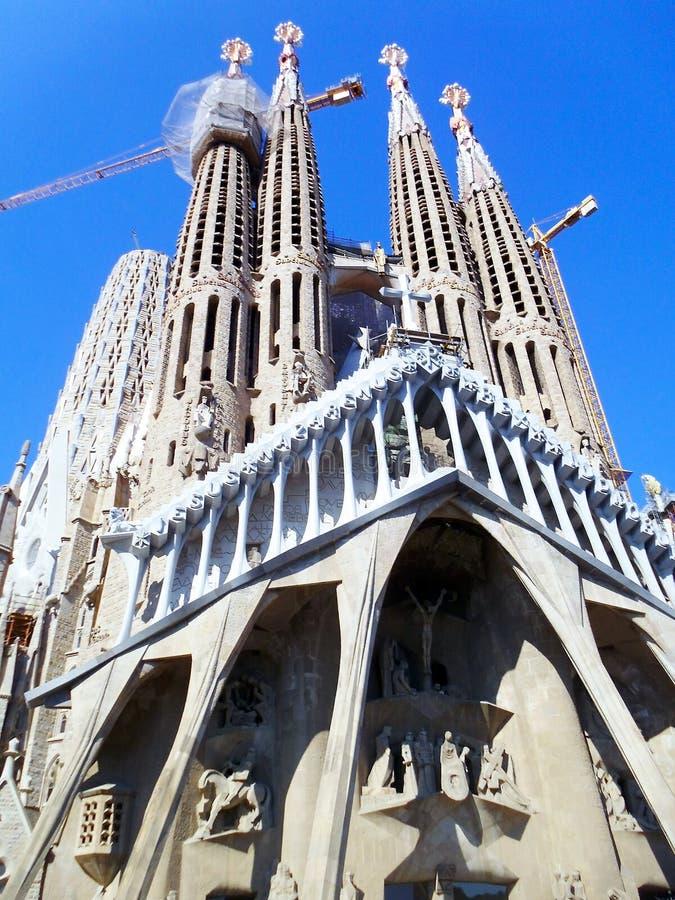 The Expiatory Temple of the Sagrada Familia, basilica in Barcelona,. Catalonia. Spain. Europe. The Expiatory Temple of the Sagrada Familia, is a Catholic royalty free stock image
