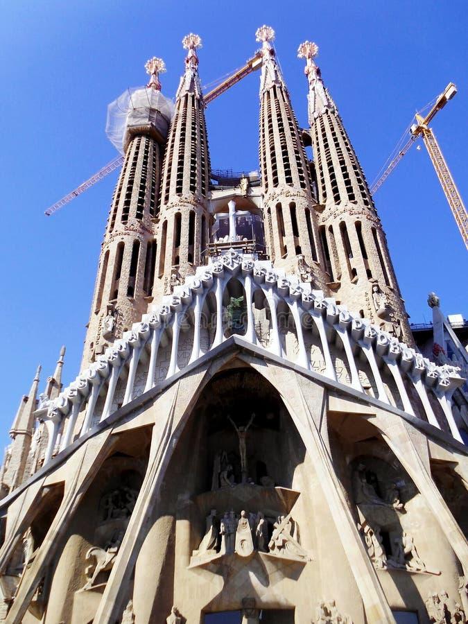 The Expiatory Temple of the Sagrada Familia, basilica in Barcelona,. Catalonia. Spain. Europe. The Expiatory Temple of the Sagrada Familia, known as the Sagrada royalty free stock image