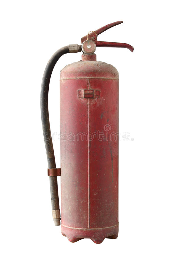 Expire fire extinguisher. Old fire extinguisher with dust cover isolated on white background royalty free stock photography
