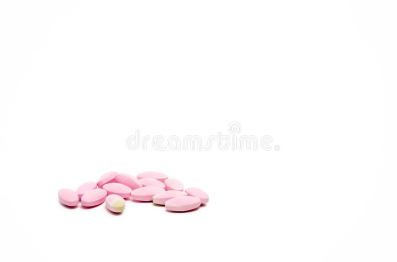 Expired calcium tablet pills with color change isolated on white background stock photo