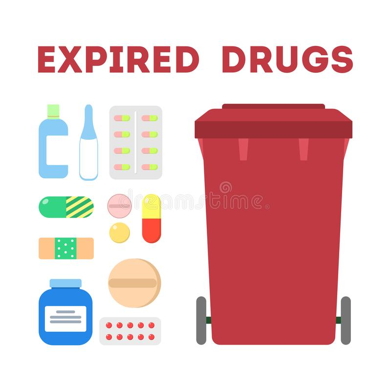 Expired drugs garbage. Trash container for medicine pills only stock illustration
