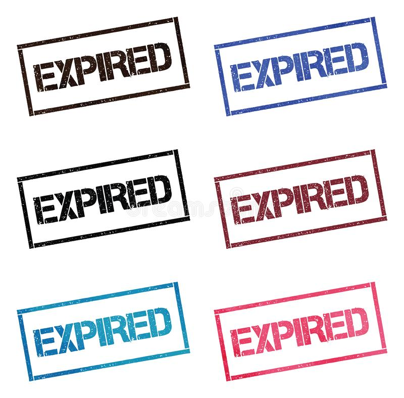 Expired rectangular stamp collection. vector illustration