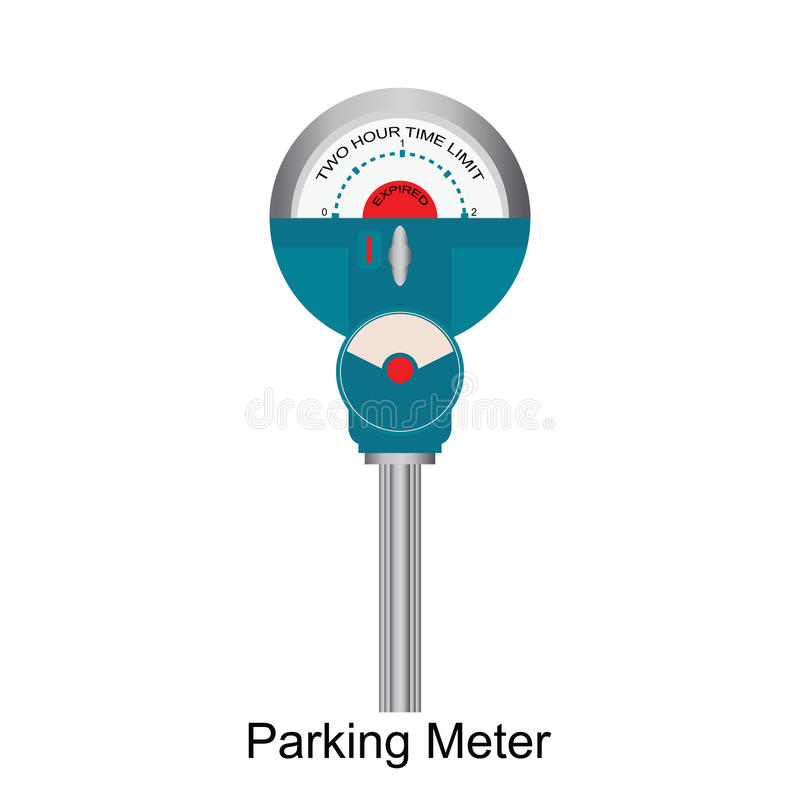 Expired Retro Parking meter. Expired Retro Parking meter isolated on white background, vector illustration stock illustration