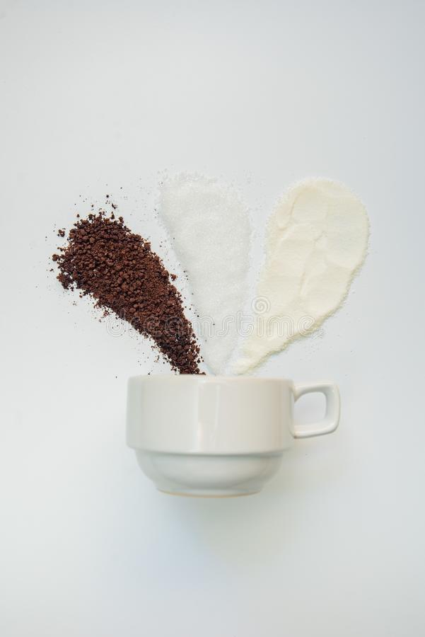 Free Explained Hot Coffee Ratio Ingredients Mix Isolated White Background. Coffee, Sugar, Creamer Stock Photography - 128109792