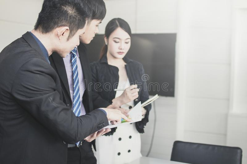 Explaining and discussing concept, Happy businessman talking wit stock images