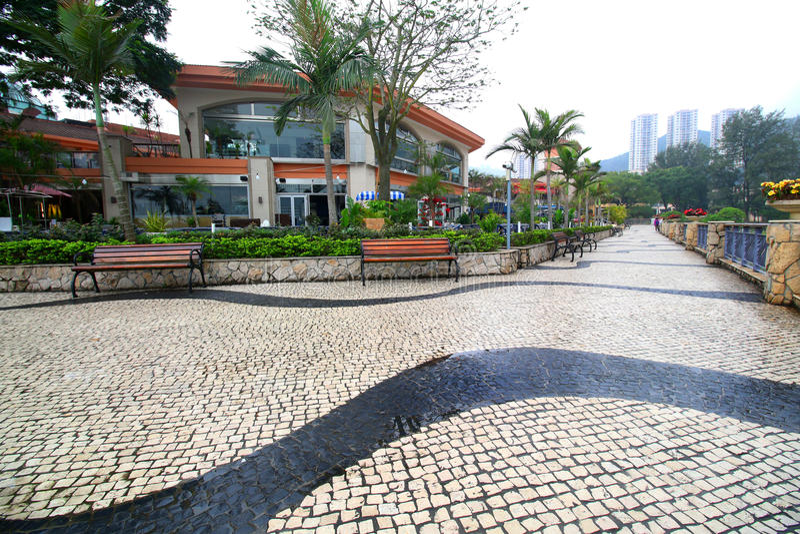 Explanada en Hong Kong Discovery Bay La mayoría visitaron la playa en la isla de Lantau imagen de archivo libre de regalías