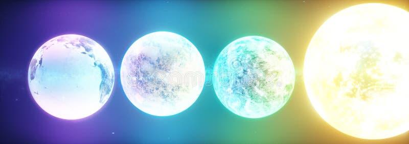 explanets和星的科学幻想小说3d例证 皇族释放例证