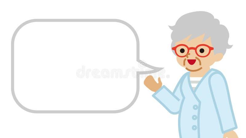 Explicación de la mujer mayor con la burbuja del discurso stock de ilustración