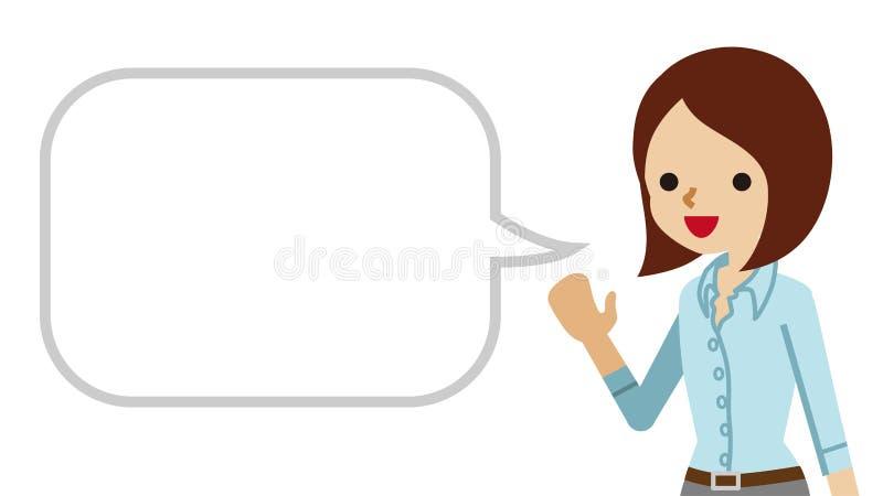 Explicación de la mujer de negocios con la burbuja del discurso stock de ilustración