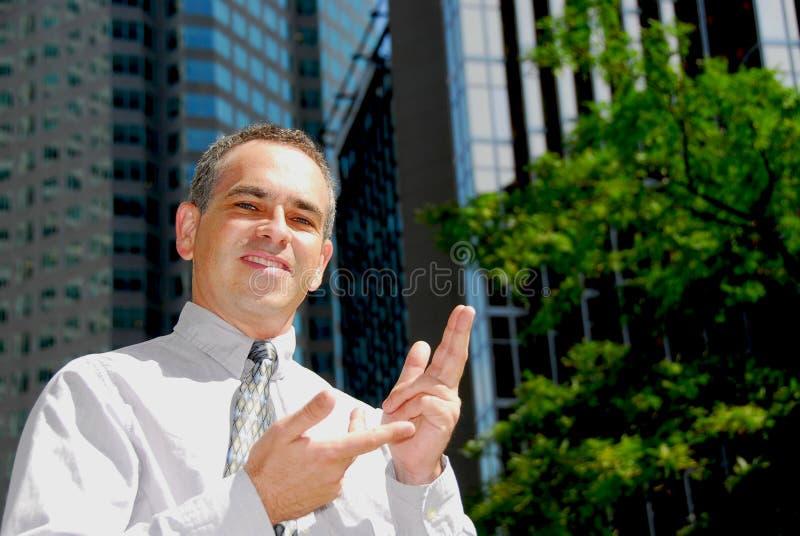 Explication d'homme d'affaires images stock