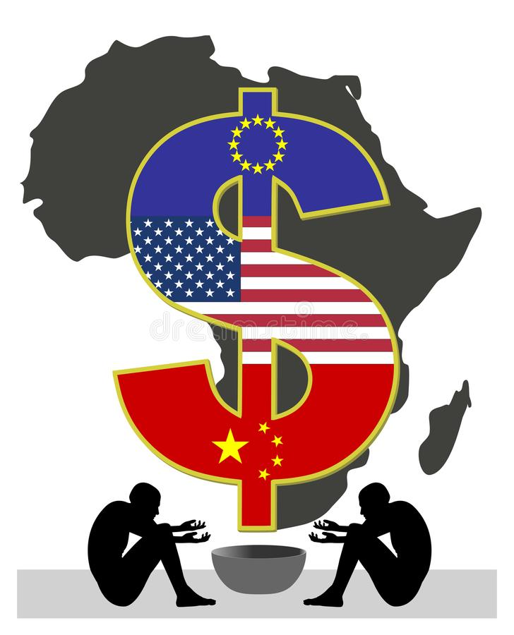 Exploatering av afrikanskt folk royaltyfri illustrationer