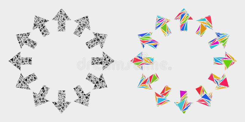 Vector Explode Arrows Mosaic Icon of Triangles royalty free illustration