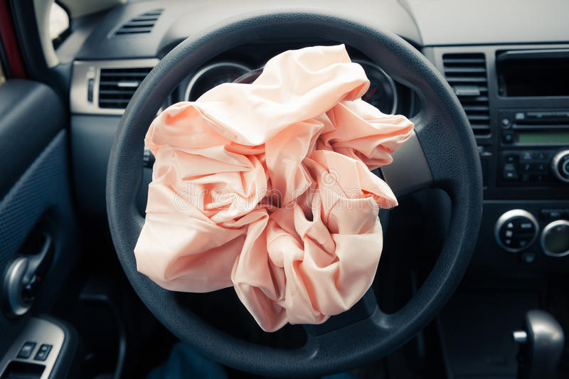 Exploded airbag royalty free stock images