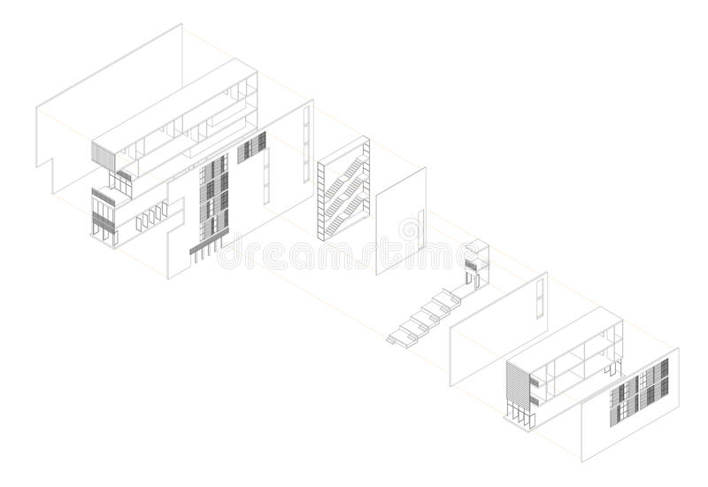 Exploded Isometric Drawing Of A Youth Hostel Stock Photos