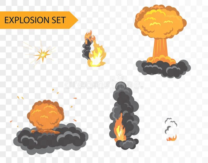 Explodera animeringeffekt Uppsättning för vektortecknad filmexplosion på alfabetiskbakgrund royaltyfri illustrationer