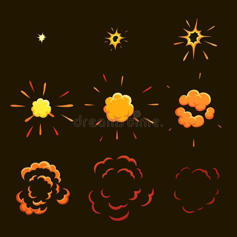 Explodera effektanimeringen animeringramar för modig design stock illustrationer