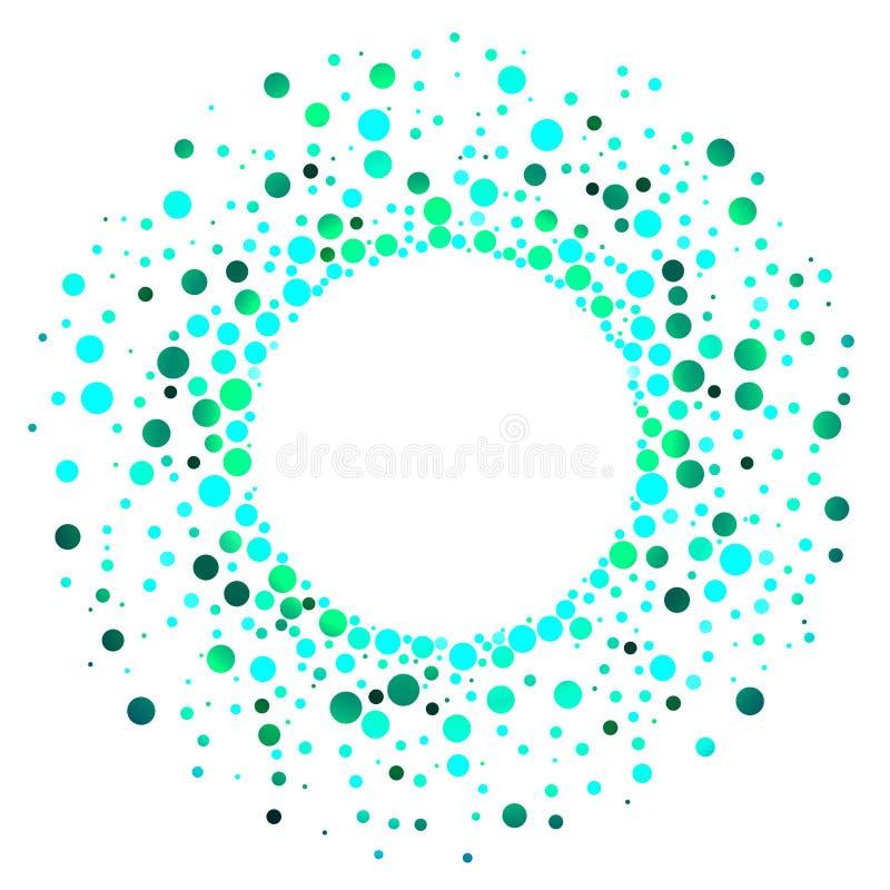 Exploderande grönt vatten tappar den runda ramen stock illustrationer