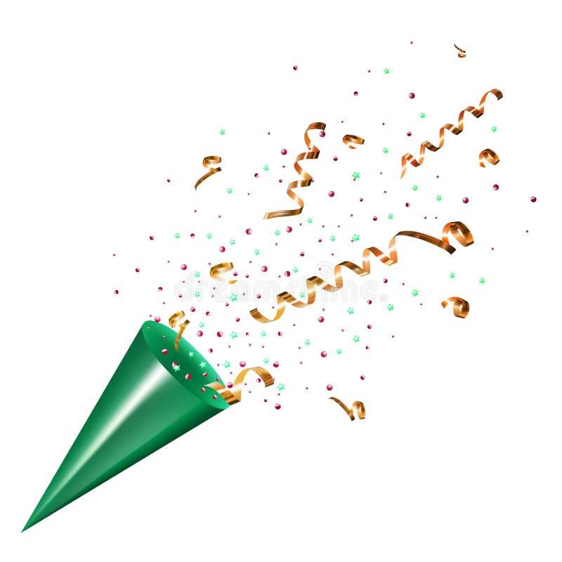 Exploderande partipopcornapparat med konfettier och banderoll på vit stock illustrationer